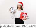 Time management concept - Young business woman 39705429