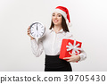 Time management concept - Young business woman 39705430
