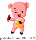 pig holding book and pencil 39706079