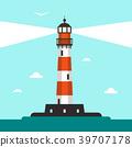 Flat Design Lighthouse Illustration 39707178