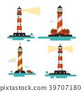 Flat Design Lighthouse. Vector Lighthouses Set. 39707180