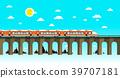 Moder Train on Old Bridge Over Sea. 39707181