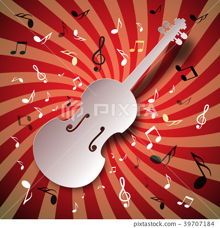 Retro Music Vector Background with Violin, Notes 39707184