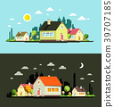 Night and Day Vector Flat Design City with Houses 39707185