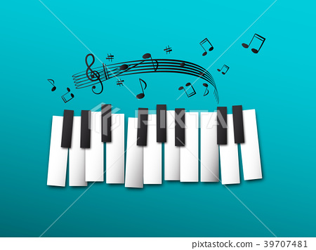 Piano Keys, Music Notes on Blue Background 39707481