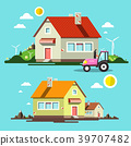 Flat Design House. Houses and Tractor 39707482
