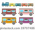 Retro Flat Design Trains Isolated 39707486