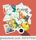Flat Design Top View Paperwork Vector Illustration 39707504