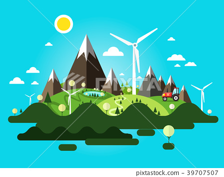 Vector Landscape with Mountains and Farm 39707507