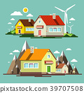 Flat Design Nature Scene with Houses and Mills 39707508