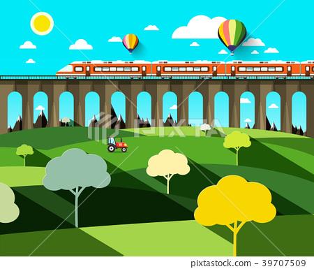 Flat Design Landscape with Modern Train 39707509