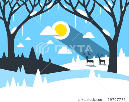 Vector Winter Flat Design Landscape 39707775