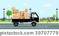 Delivery Service Car with Paper Boxe 39707779