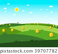 Empty Field. Vector Flat Design Meadow. 39707782
