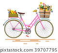 Vector Pink Bicycle - Bike with Flowers 39707795