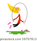 Young Girl Jumping with Jump Rope 39707813