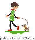 Lady with Dog Isolated on White Background 39707814