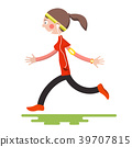 Running Woman Isolated on White Background 39707815