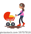 Young Mother with Baby Carriage 39707816