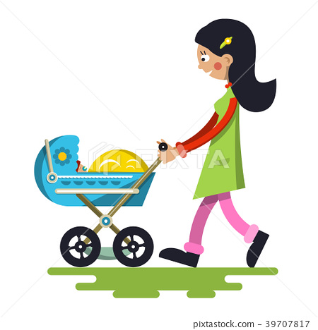 Young Mother with Baby on Pram 39707817
