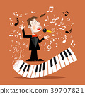 Music Background with Abstract Piano Keyboard 39707821