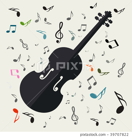 Violins with Notes Vector Music Background 39707822