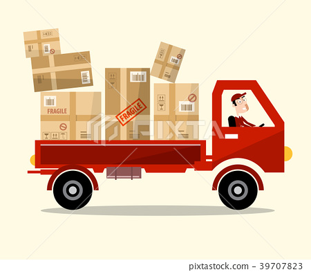 Delivery Service. Red Car with Paper Boxes 39707823