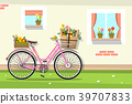 Retro Pink Bicycle with House Wall and Windows 39707833
