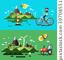 Landscapes Flat Design Vector Set 39708551