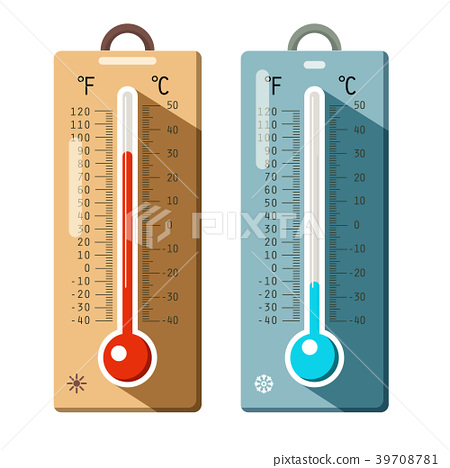 Thermometers Icons Set. Summer and Winter 39708781