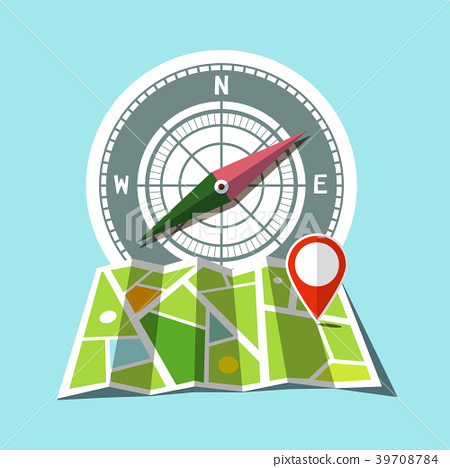 Map with Red Mark and Compass Icons - Stock Illustration [39708784