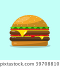 Hamburger. Vector Flat Design Food Icon. 39708810