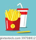 French Fries with Soda. Vector Flat Design Food 39708812