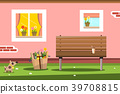 Pink House Facade with Windows and Bench 39708815