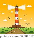 Lighthouse. Vector Sunset Nature Landscape 39708817