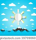 Sea, Ocean Waves with Paper Cut Sun on Blue Sky 39709060
