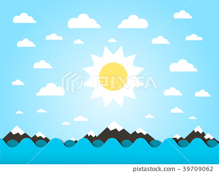 Sea Waves with Sun Vector Flat Design Cartoon 39709062
