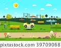 Empty Park - Playground  Garden Vector Cartoon 39709068
