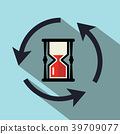 Sand Clock Icon with Circle Arrows 39709077