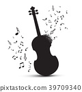 Violin Silhouette with Notes Isolated 39709340