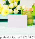 Happy Easter pastel green yellow background  39710473