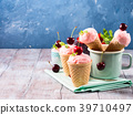 Home made strawberry ice cream served in cones 39710497
