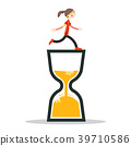 Woman Running on Sand Clock. Vector Icon. 39710586