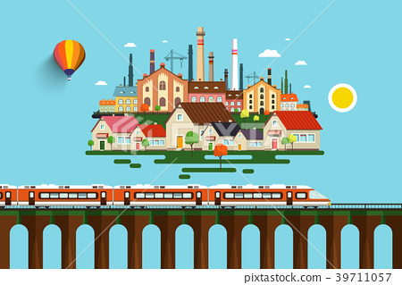 Modern Train on High Bridge and Abstract City 39711057