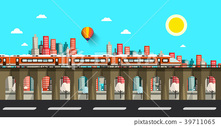 Modern Train in City. Vector Flat Design Town. 39711065
