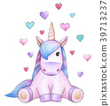 Cute sitting unicorn   with hearts, isolated. 39713237
