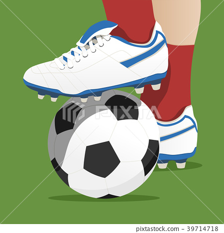 Footballer stepping on the ball in a soccer match 39714718