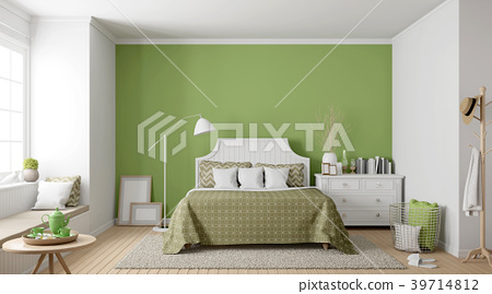 Modern vintage bedroom with green wall 3d render 39714812