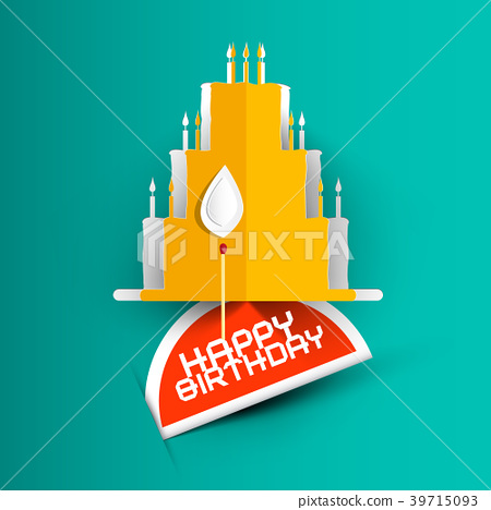Happy Birthday Card with Paper Cut Cake 39715093