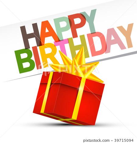 Happy Birthday. Red Gift Box on White Background 39715094